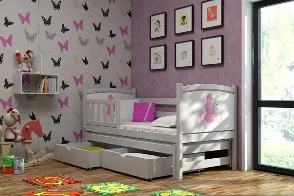 MAXMAX Detská posteľ s výsuvnou prístelkou z MASÍVU s obrázkom 180x80cm so zásuvkou - DPV005 180x80 pre dievča ÁNO