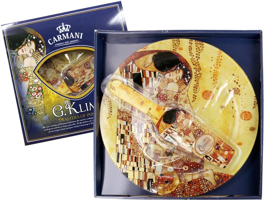 Sklenená tácka okrúhla 30 cm s lopatkou Gustav  Klimt The Kiss, CARMANI