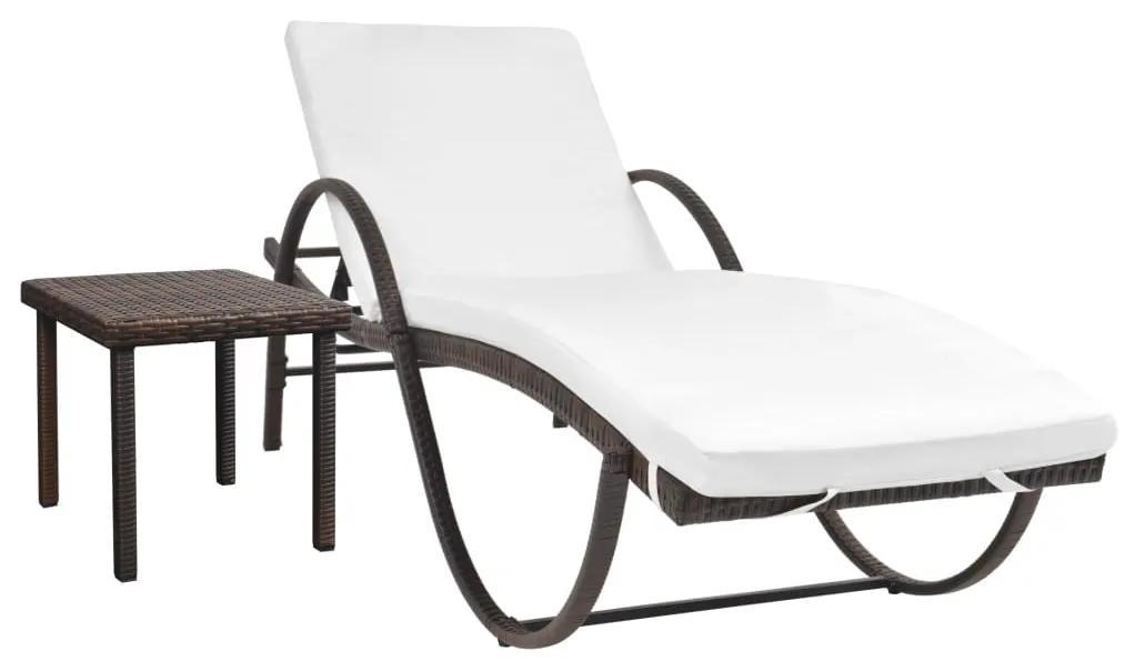 vidaXL Záhradné ležadlo s podložkou a stolíkom, polyratan, hnedé