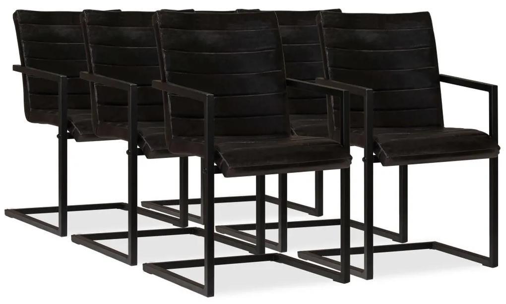 vidaXL Jedálenské stoličky 6 ks, antracitové, pravá koža