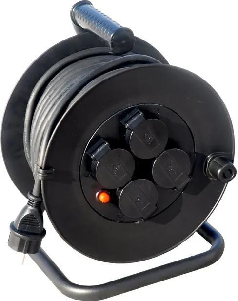 Solight Solight predlžovací prívod na bubne, vonkajší, 4 zásuvky, čierny, 50m