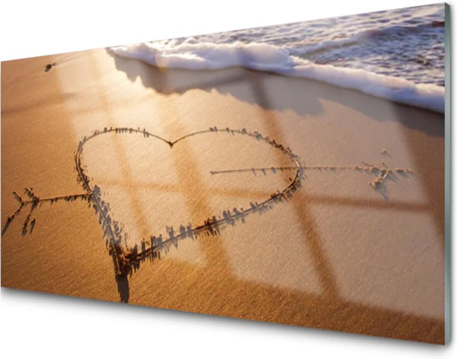 Obraz na akrylátovom skle Pláž Srdce More Umenie