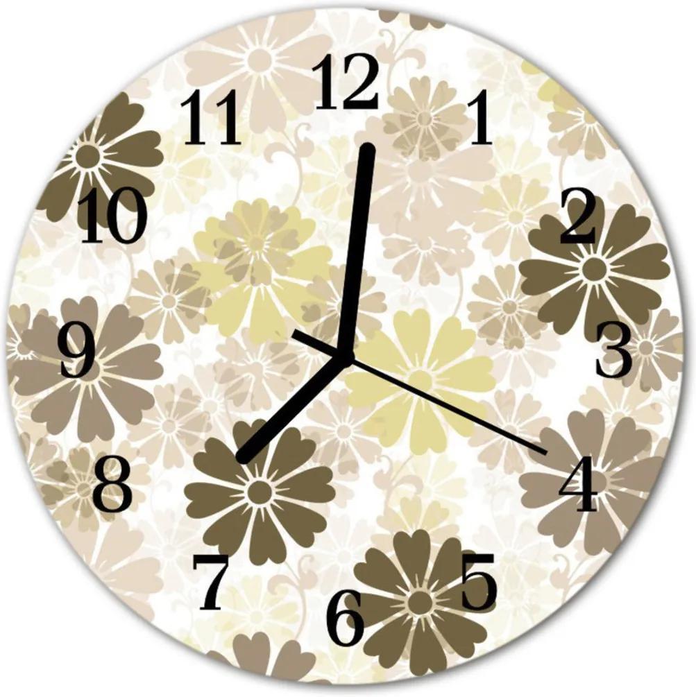 Skleněné hodiny kulaté Květiny umění