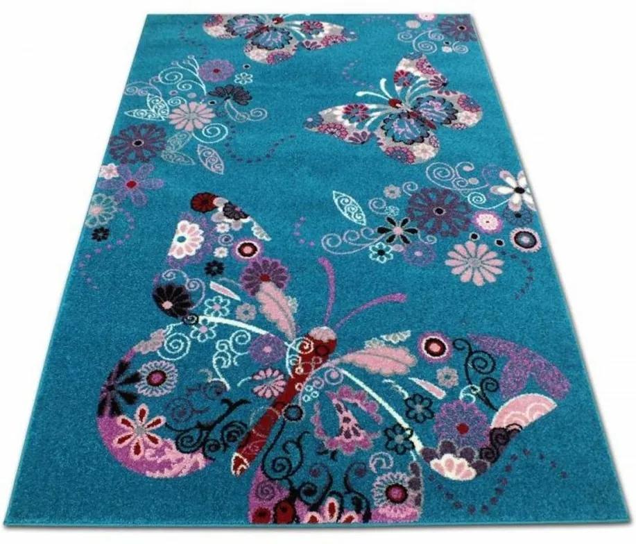 Detský koberec Motýľ tyrkysový, Velikosti 240x330cm