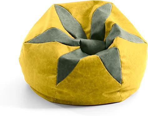 DREVONA Nepremokavý sedací vak LORE FLORA A110 žltý
