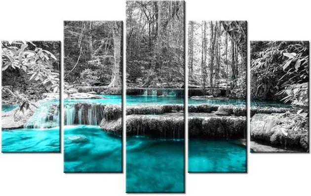 Tlačený obraz Modrý vodopád v džungli 100x63cm 2535A_5D
