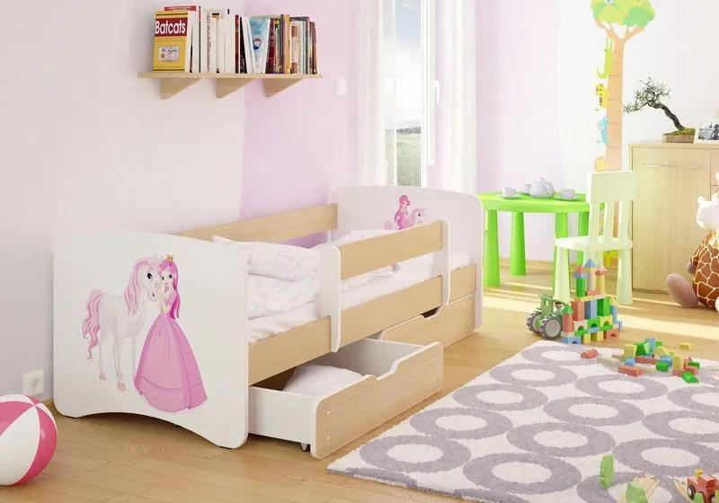 MAXMAX Detská posteľ PRINCEZNA A Jednorožec funny 160x80 cm - sa zásuvkou 160x80 pre dievča ÁNO