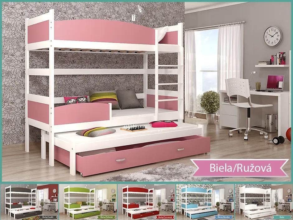 Swing 3 biela Color poschodová posteľ s prístelkou a boxom 184x80