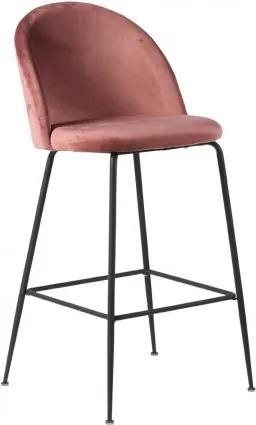 Barová židle LAUSANNE velvet růžová/nohy černé House Nordic 1001262