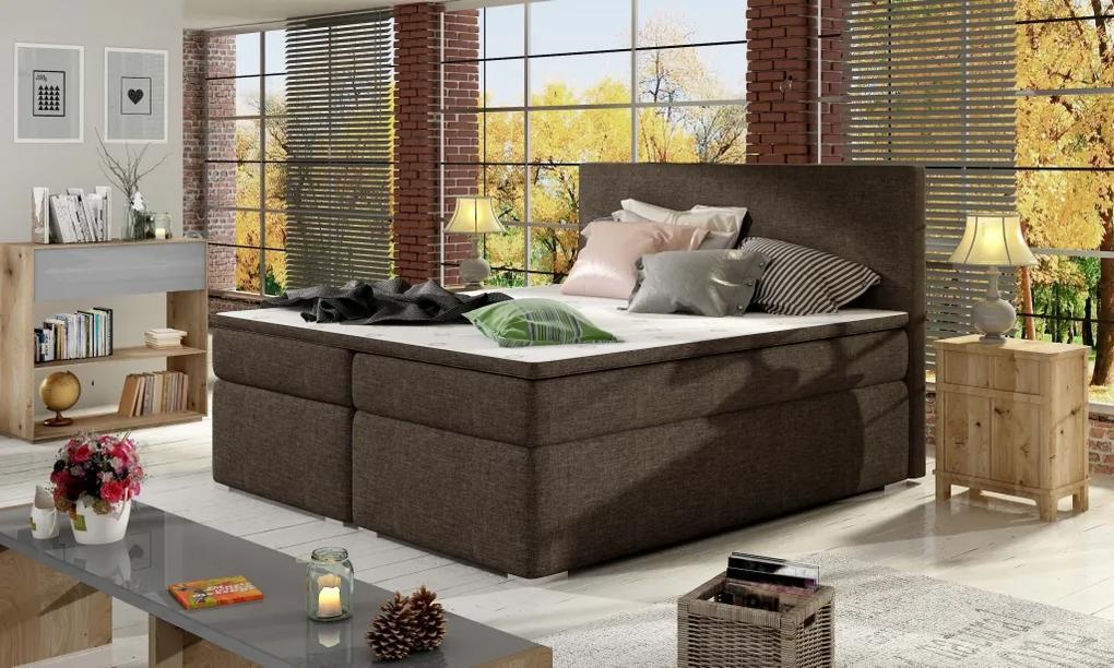 Moderná box spring posteľ Dive 180x200, hnedá