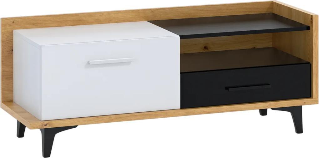 MEBLOCROSS Box Box-08 tv stolík dub artisan / biela / čierna