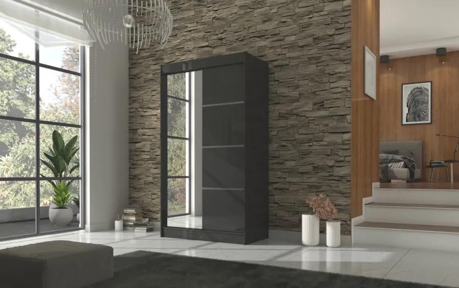 Čierna skriňa s posuvnými dverami 120 cm Enyo
