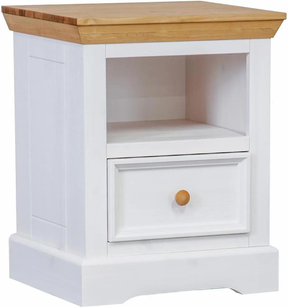 Nočný stolík Marone, dekor biela/drevo, borovica, masív