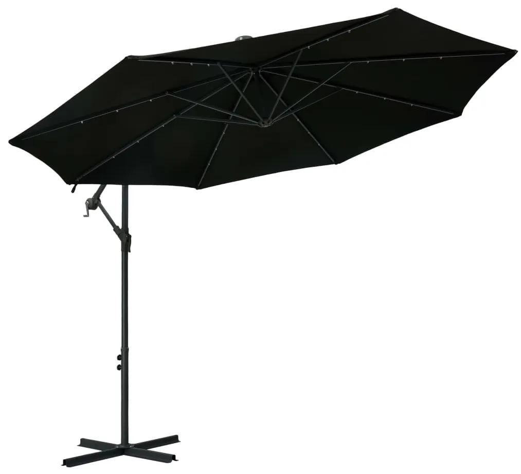 vidaXL Závesný slnečník s LED a oceľovou tyčou 300 cm, čierny