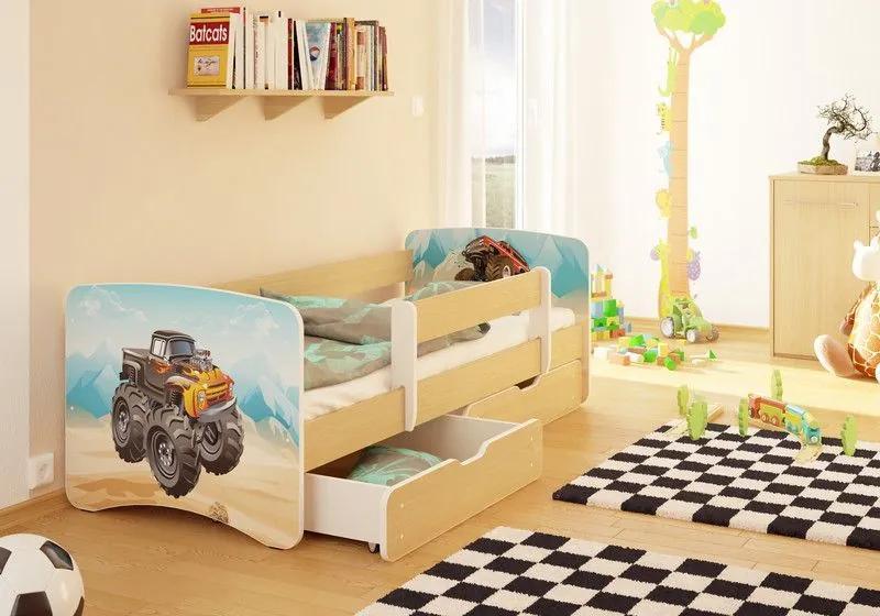 MAXMAX Detská posteľ MONSTER TRUCK funny 180x80 cm - sa zásuvkou 180x80 pre chlapca ÁNO