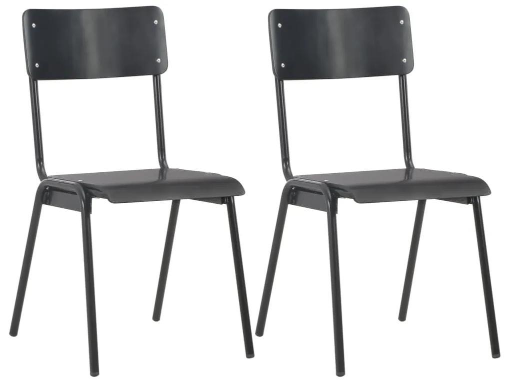 vidaXL Jedálenské stoličky 2 ks čierne masívna preglejka oceľ