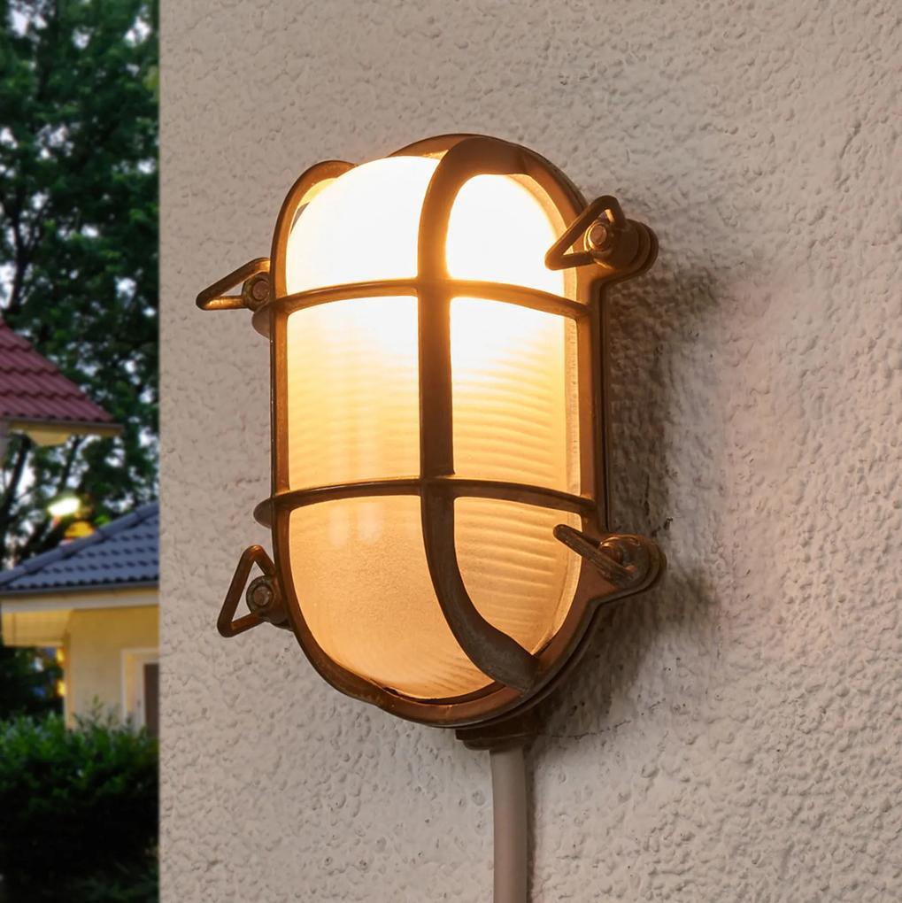 Vonkajšie nástenné svietidlo ovál Bengt mosadz