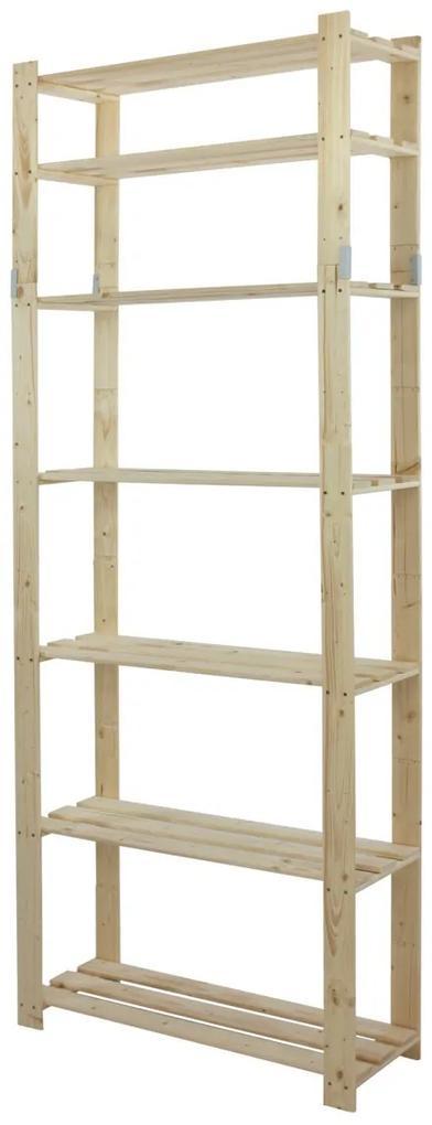 Regál drevený B-28 220x80x28 7 políc-borovica
