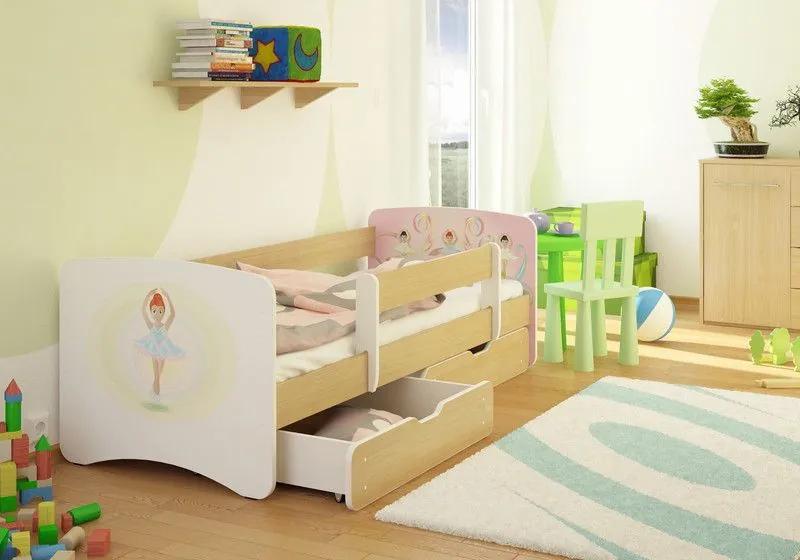 MAXMAX Detská posteľ BALETKA funny 180x90 cm - sa zásuvkou 180x90 pre dievča ÁNO