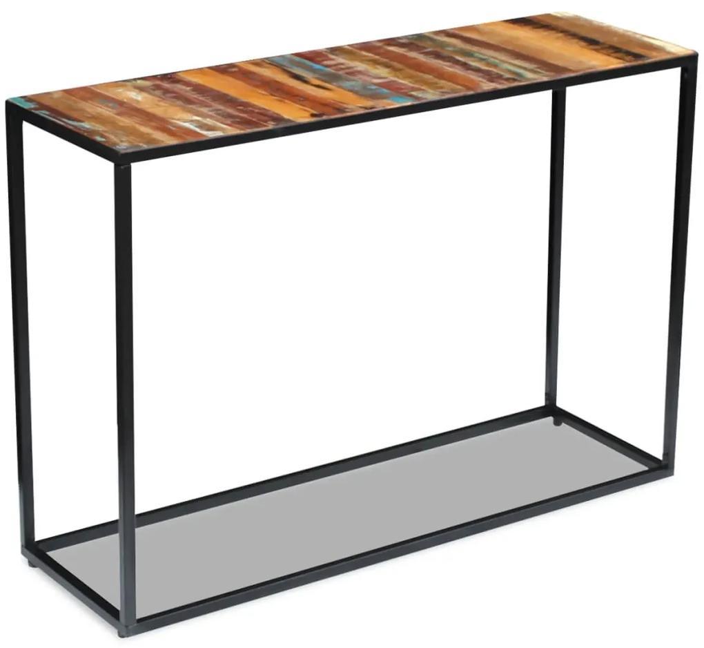 vidaXL Konzolový stolík, recyklovaný masív 110x35x76 cm