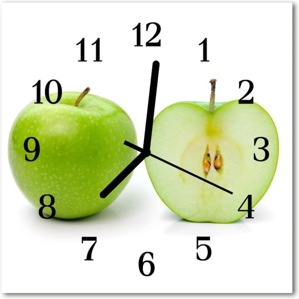 Nástenné sklenené hodiny  jablko