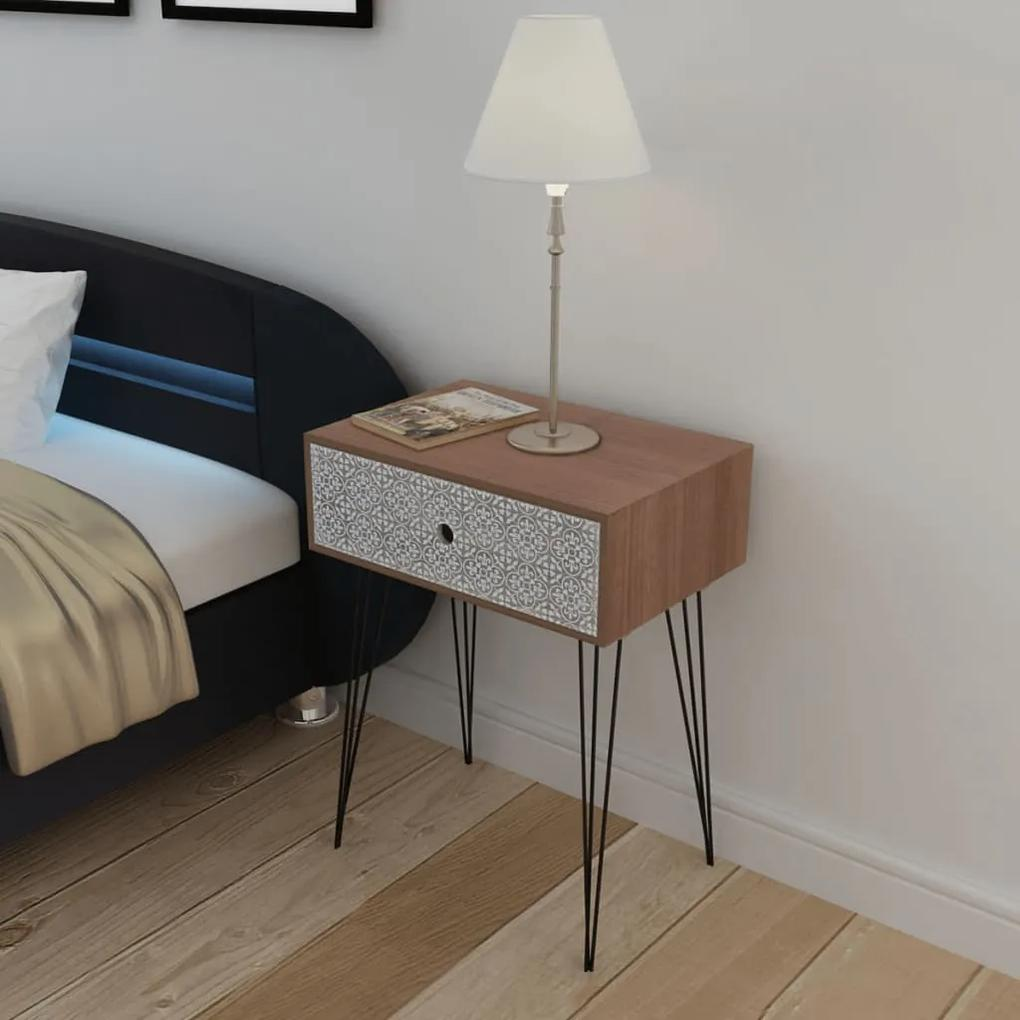 vidaXL Nočný stolík s 1 zásuvkou, obdĺžnikový, hnedý