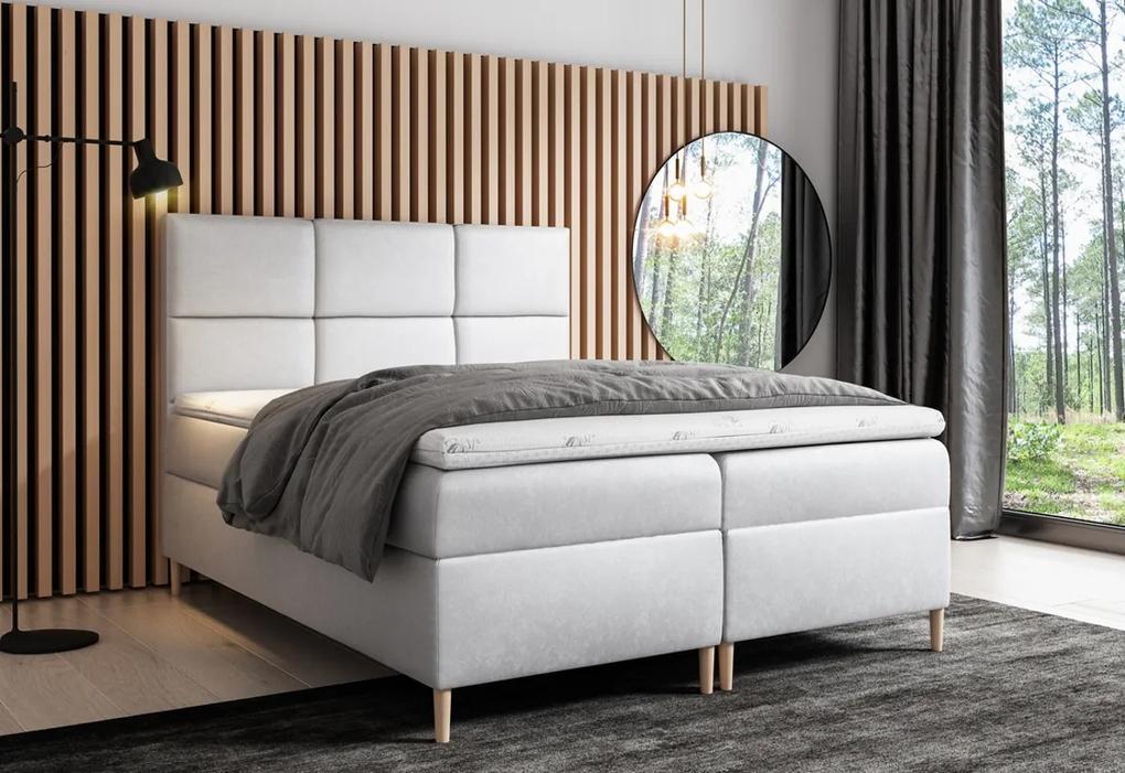 Čalúnená posteľ boxspring GRETA + topper, 180x200, jasmine 81