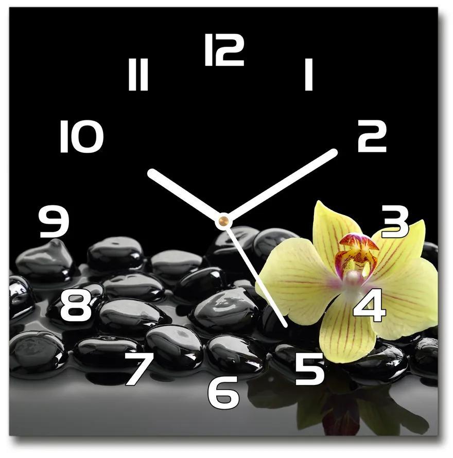 Sklenené nástenné hodiny štvorec Orchidea pl_zsk_30x30_f_53476359