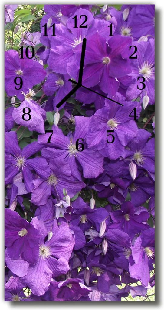 Skleněné hodiny vertikální Květy, purpurové primrosy