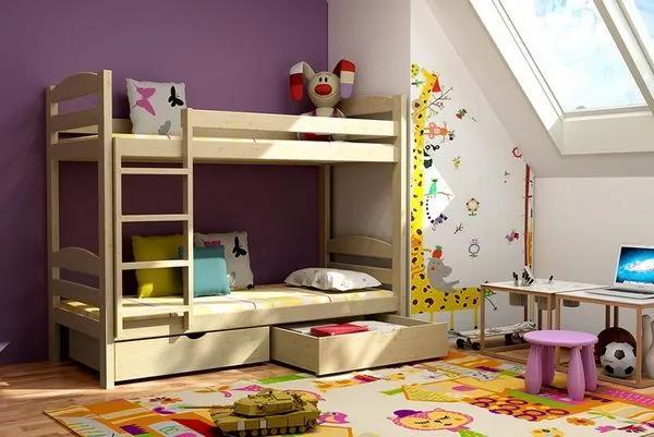 MAXMAX Detská poschodová posteľ z MASÍVU 180x80cm so zásuvkami - PP004 180x80 ÁNO