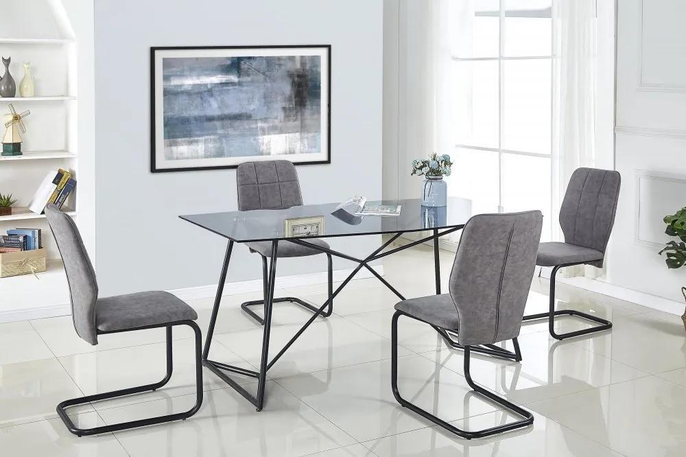 Jedálenský stôl SENSOR sklo / čierna Halmar