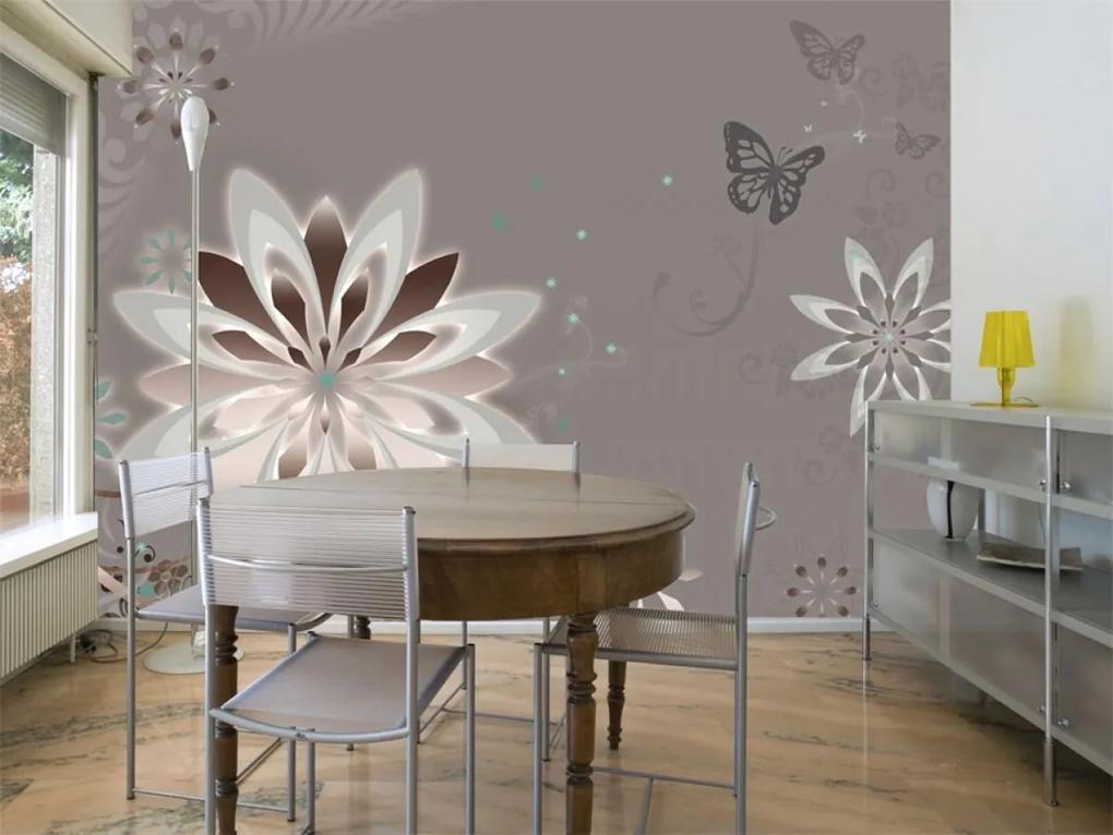 Murando DeLuxe Tapeta květina a motýl 150x116 cm
