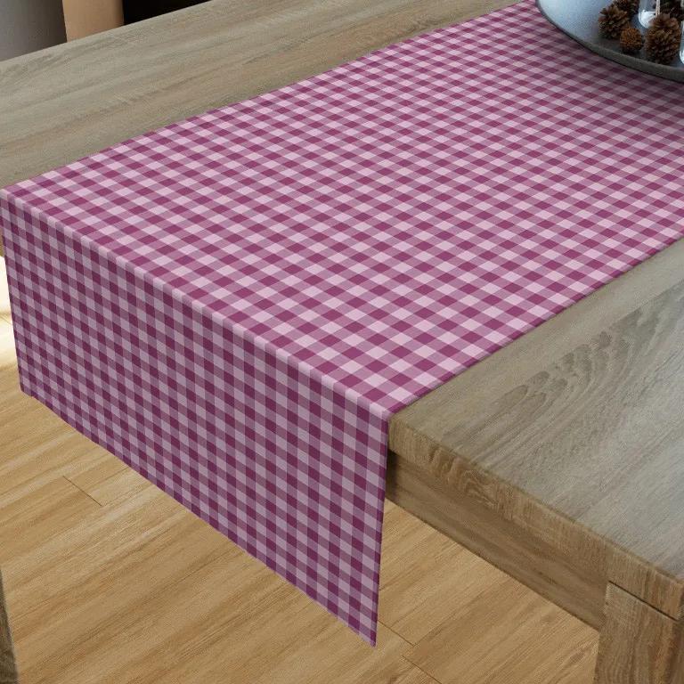Goldea bavlnený behúň na stôl kanafas - vzor kocka malá fialová 35x120 cm