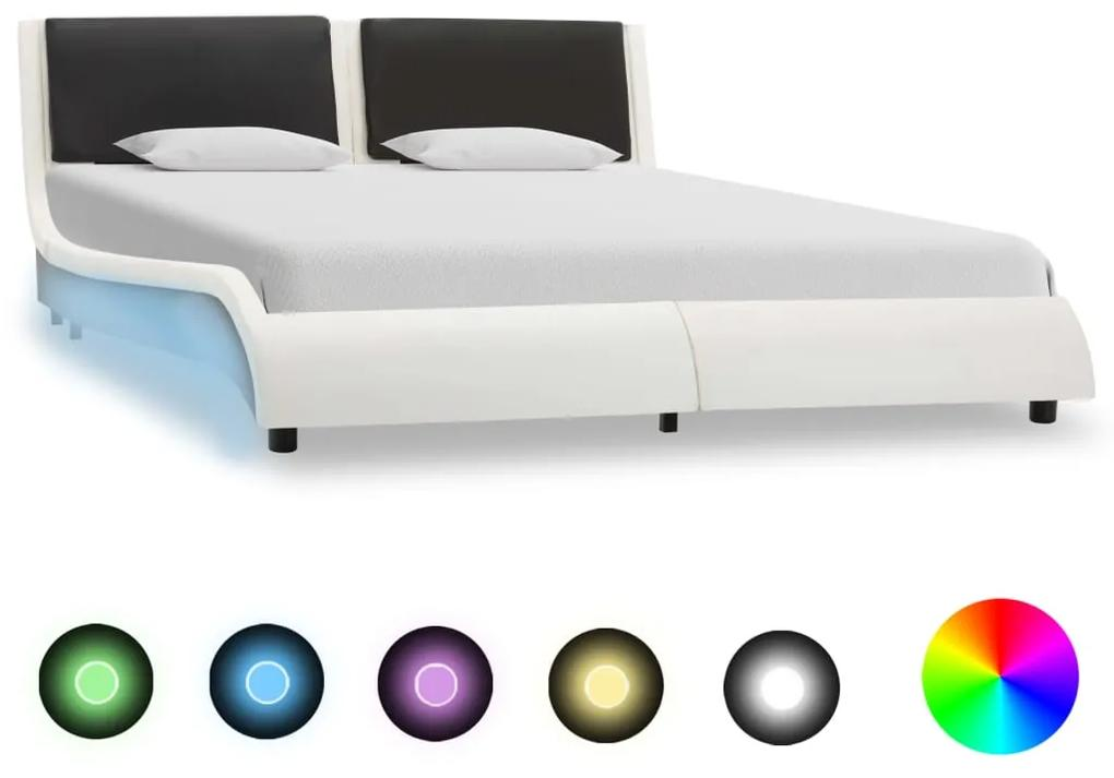 vidaXL Posteľný rám s LED, bielo čierny, umelá koža 140x200 cm