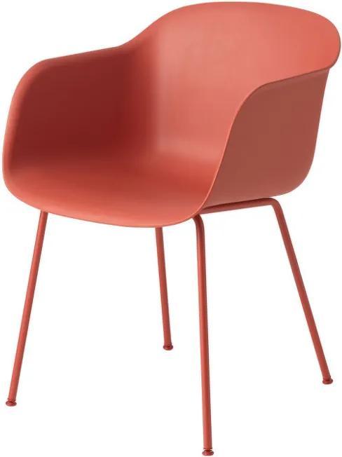 Muuto Stolička Fiber od Muuto, s kovovou podnožou, dusty red