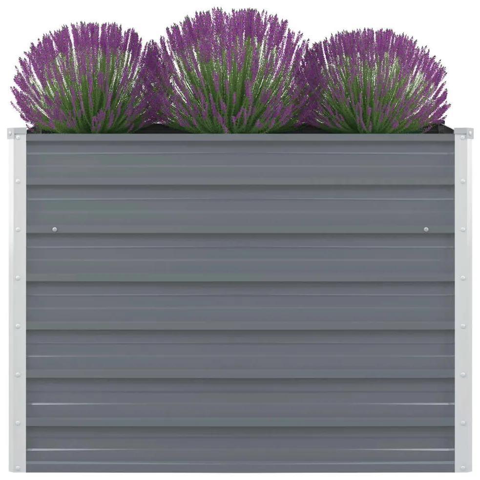 vidaXL Vyvýšený záhradný kvetináč, 100x100x77 cm, pozinkovaná oceľ, šedá