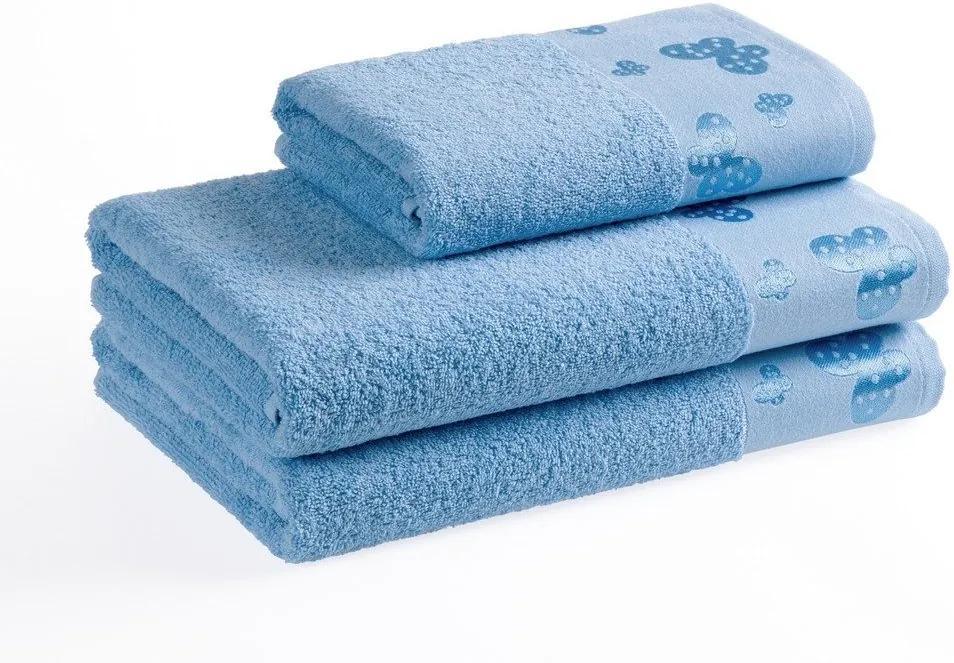 Škodák Froté uterák / osuška Motýle vzor 002 svetlo modrý - Malý uterák 30 x 50 cm