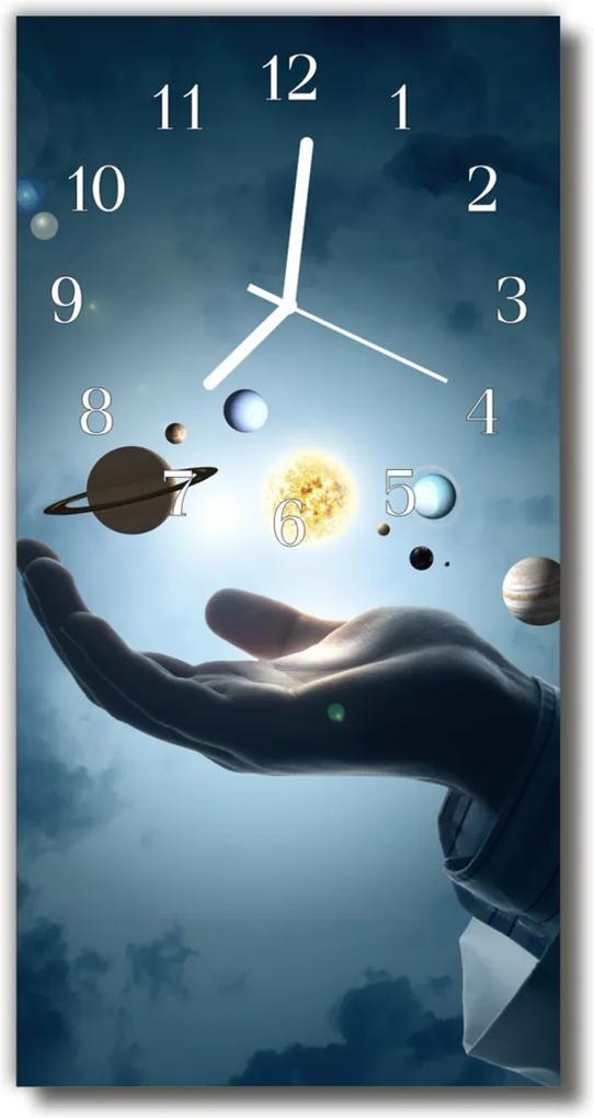 Nástěnné hodiny vertikální Planety solární modrý systém