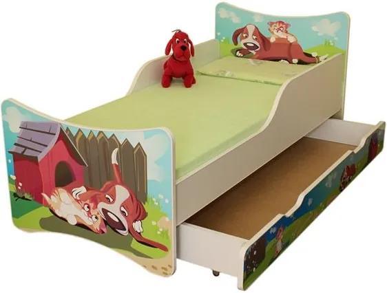 MAXMAX Detská posteľ so zásuvkou 160x70 cm - PSÍK A MAČIČKA 160x70 pre všetkých ÁNO