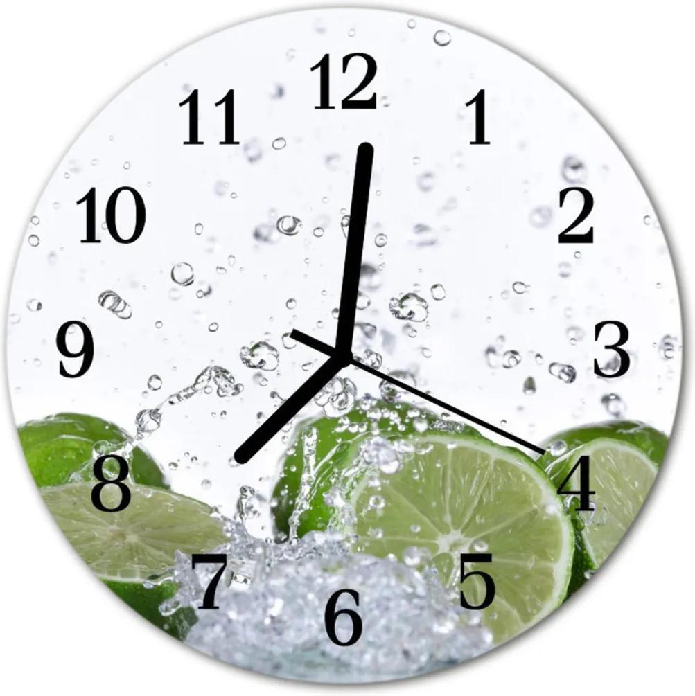 Skleněné hodiny kulaté limetkou