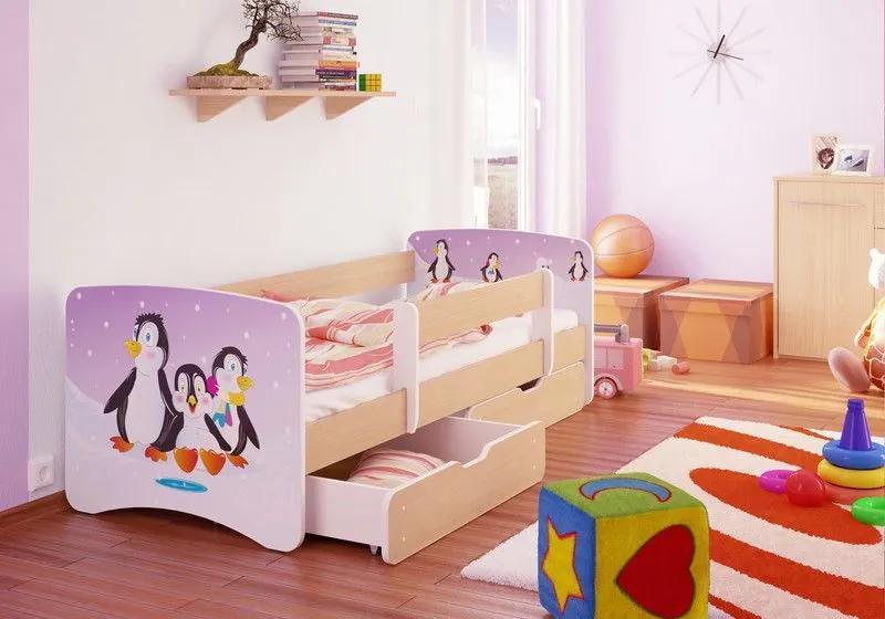 MAXMAX Detská posteľ Tučniaci funny 180x80 cm - sa zásuvkou 180x80 pre dievča ÁNO