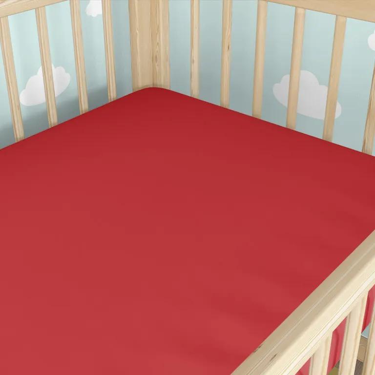 Goldea bavlnená plachta do detské postieľky - červená 60 x 120 cm