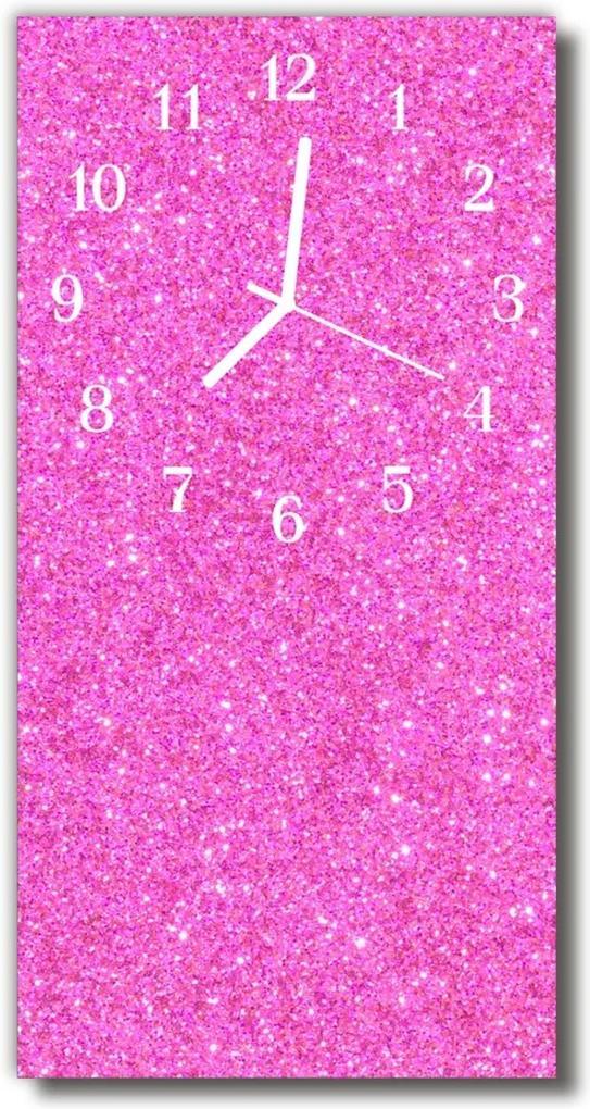 Skleněné hodiny vertikální Pink brokát