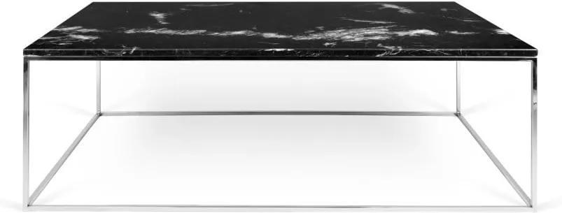 Čierny mramorový konferenčný stolík s chrómovými nohami TemaHome Gleam, 75 x 120 cm