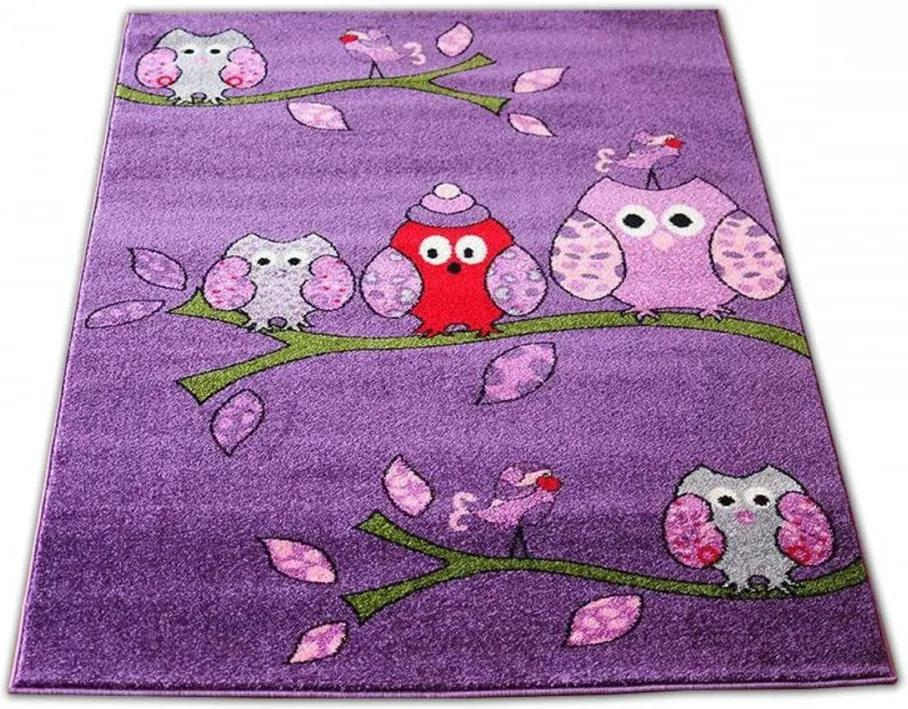 Detský koberec Sovy fialový, Velikosti 240x330cm