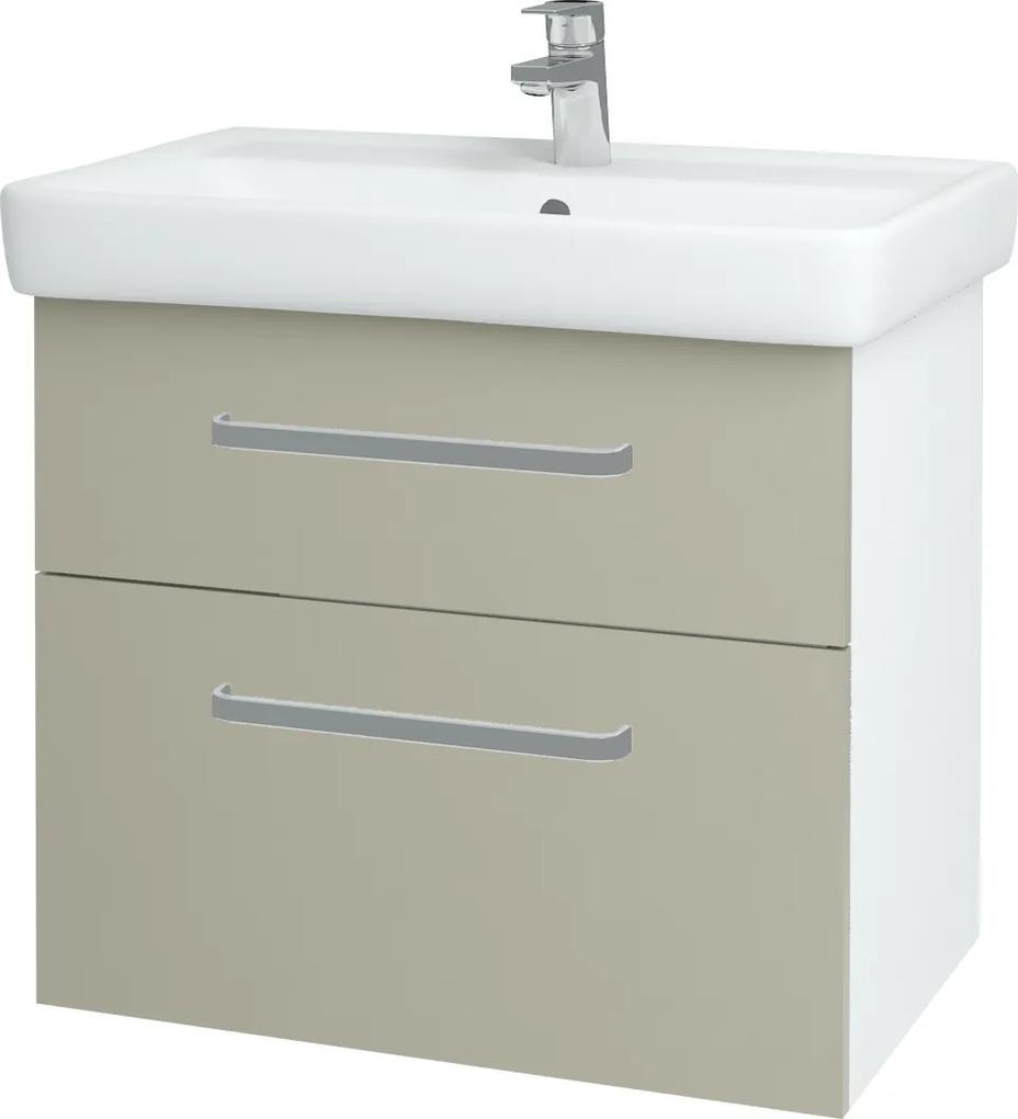Dřevojas - Koupelnová skříň Q MAX SZZ2 70 - N01 Bílá lesk / Úchytka T01 / L04 Béžová vysoký lesk (115302A)