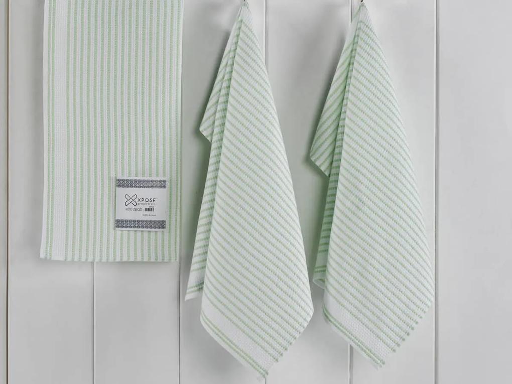 XPOSE ® Kuchyňské vaflové utěrky CLASIC 3ks - zelená 50x70 cm