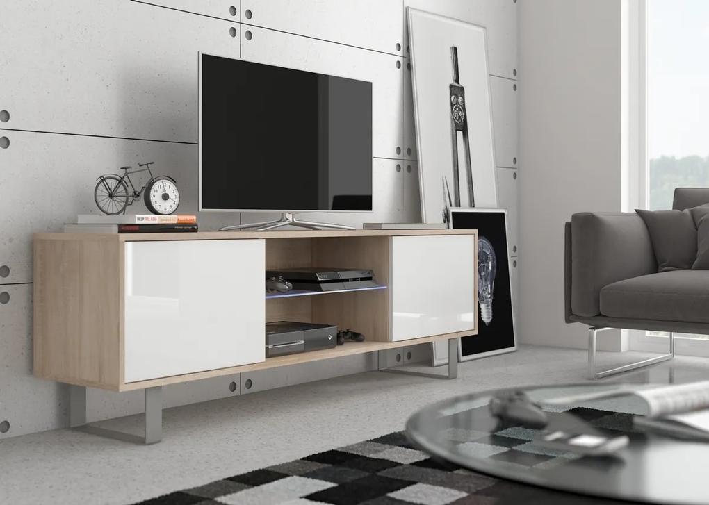 MEBLOCROSS King KIN-02 tv stolík sonoma svetlá / biely lesk
