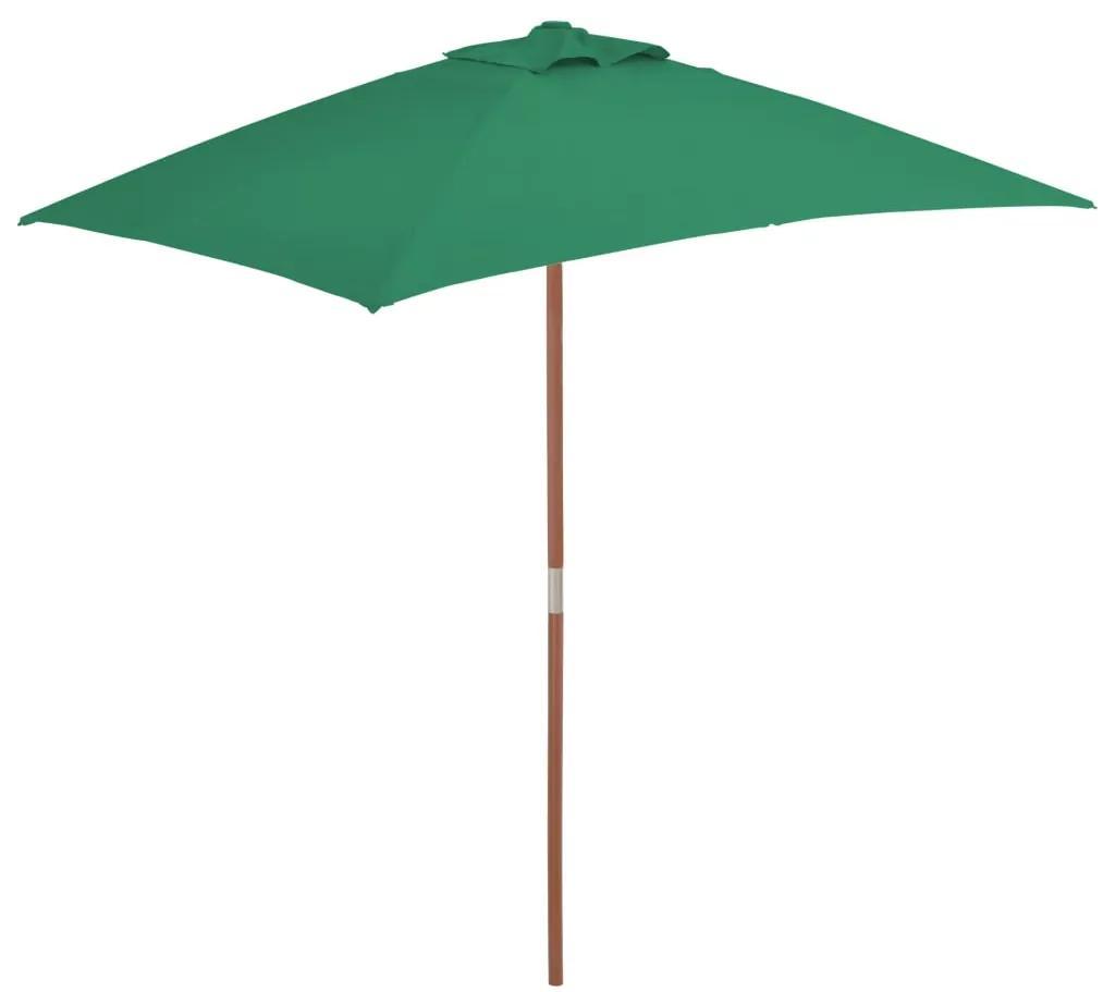 vidaXL Vonkajší slnečník s drevenou tyčou 150x200 cm, zelený
