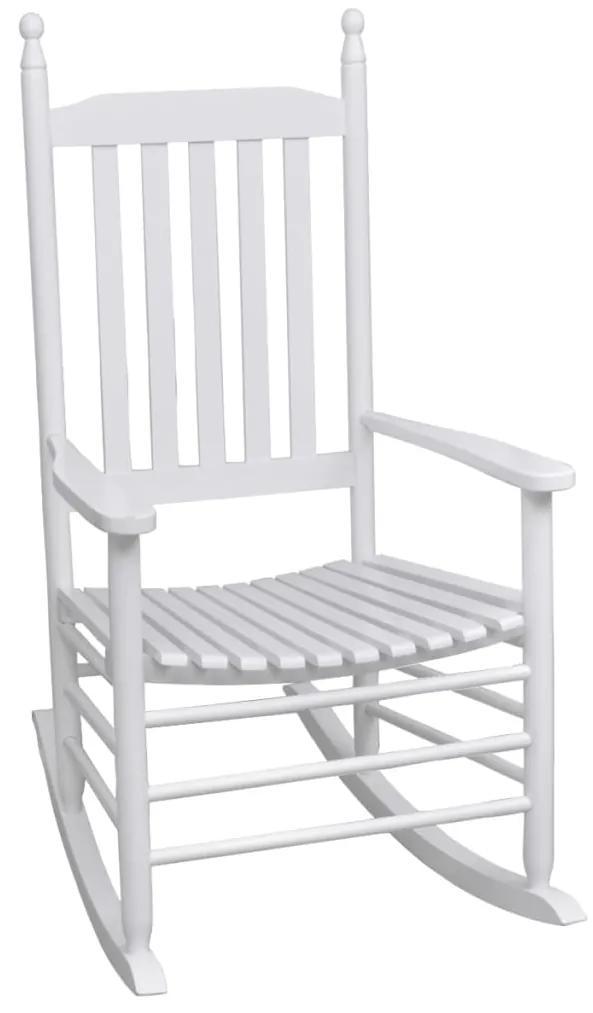 vidaXL Hojdacie kreslo so zaobleným sedadlom, drevo, biele